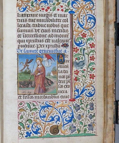 194v 195. Martyrdom Of Catherine Of Alexandria; Genevieve Holding Her Taper With A Devil And An Angel On Either Side.